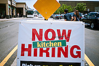 A supermarket in Edgewater, NJ announces that it is hiring for its prepared food department, seen on Saturday, August 18, 2012.  (© Richard B. Levine)