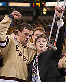 Brooks Dyroff (BC - 14), Patch Alber (BC - 3) - The Boston College Eagles defeated the Northeastern University Huskies 6-3 on Monday, February 11, 2013, at TD Garden in Boston, Massachusetts.