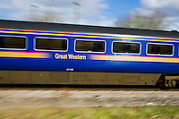 First Great Western Train in the English countryside, The Cotswolds, UK