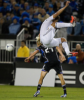 Omar Gonzalez of Galaxy fights for the ball against Steven Lenhart of Earthquakes during the game at Buck Shaw Stadium in Santa Clara, California on November 7th, 2012.   LA Galaxy defeated San Jose Earthquakes, 3-1.