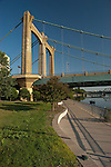 The iconic suspension bridge that crosses the Mississippi River in Downtown Minnepolis