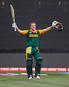 15.02.2015. Hamilton, New Zealand.  South Africa's David Miller celebrates his hundred during the ICC Cricket World Cup match - South Africa versus Zimbabwe at Seddon Park, Hamilton, New Zealand on Sunday 15 February 2015.