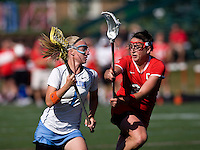 Laura Zimmerman (1) of North Carolina tries to slide past Morgan Hale (32) of Cornell at St. Stephens and St. Agnes High School in Alexandria, VA.  North Carolina defeated Cornell, 13-7.