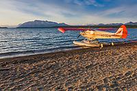 Bush plane on floats on Naknek lake, Katmai National Park,