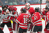 Jared Wilson (RPI - 13), Jake Horton (Harvard - 91), Travis Fulton (RPI - 18), Seb Lloyd (Harvard - 15), Cam Hackett (RPI - 1), Kenny Gillespie (RPI - 8), Mark Miller (RPI - 26) - The Harvard University Crimson defeated the visiting Rensselaer Polytechnic Institute Engineers 5-2 in game 1 of their ECAC quarterfinal series on Friday, March 11, 2016, at Bright-Landry Hockey Center in Boston, Massachusetts.