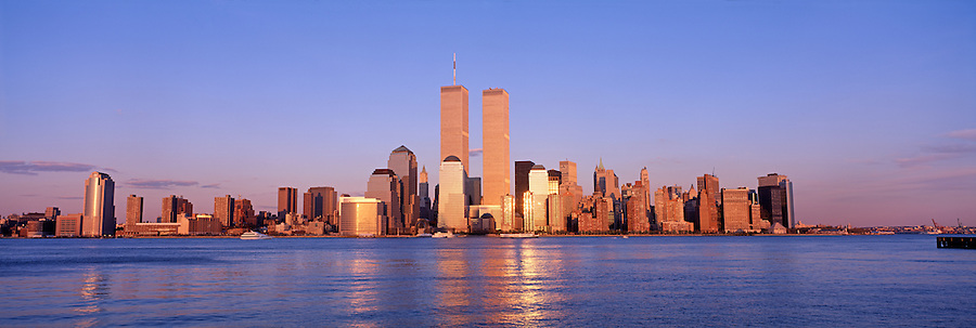 Lower Manhattan Skyline, Golden Twin Towers, World Trade Center, Manhattan, New York, designed by Minoru Yamasaki, International Style II, sunset