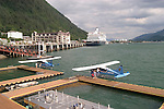 Alaska, Juneau: In front of the float plane dock. .Photo #: alaska10128 .Photo copyright Lee Foster, 510/549-2202, lee@fostertravel.com, www.fostertravel.com.