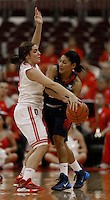 Ohio State Buckeyes guard Cait Craft (13) pressures Gonzaga Bulldogs guard Jazmine Redmon (34) in the second half at Value City Arena in Columbus Dec. 8, 2013.(Dispatch photo by Eric Albrecht)