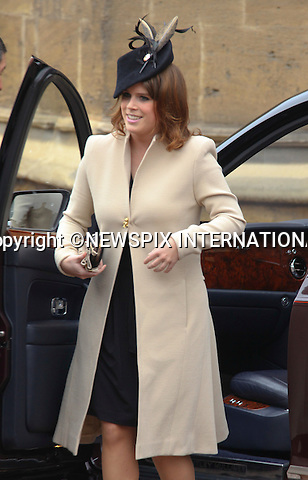 "PRINCESS EUGENIE.at Easter Service at St George's Chapel, Windsor_April8, 2012.Mandatory credit photo: ©NEWSPIX INTERNATIONAL..(Failure to credit will incur a surcharge of 100% of reproduction fees)..                **ALL FEES PAYABLE TO: ""NEWSPIX INTERNATIONAL""**..IMMEDIATE CONFIRMATION OF USAGE REQUIRED:.Newspix International, 31 Chinnery Hill, Bishop's Stortford, ENGLAND CM23 3PS.Tel:+441279 324672  ; Fax: +441279656877.Mobile:  07775681153.e-mail: info@newspixinternational.co.uk"