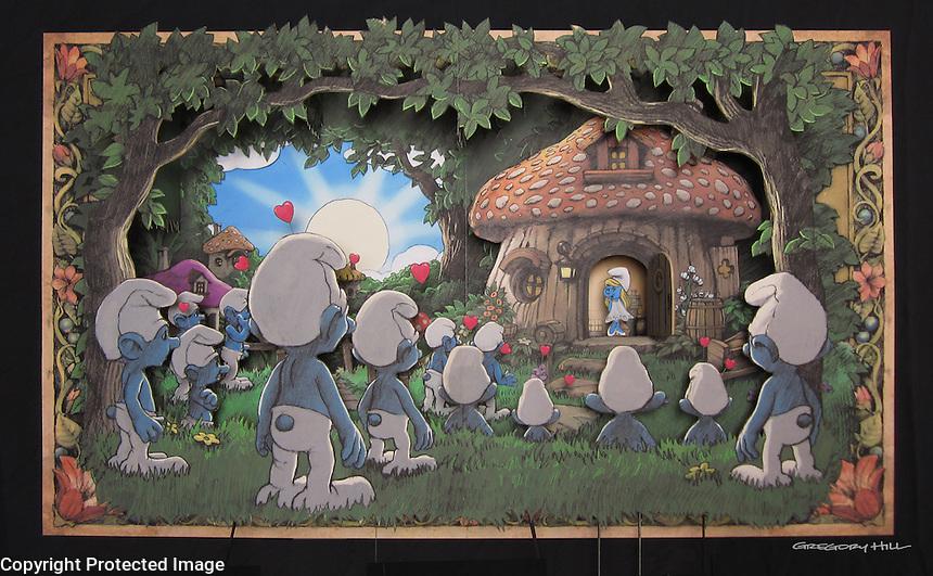 Pop up Book Scene Papa Smurfs House