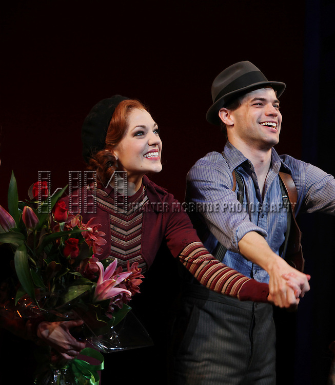 Laura Osnes & Jeremy Jordan.during the Opening Night Performance Curtain Call for 'Bonnie & Clyde' at the Gerald Schoenfeld Theatre in New York City. December 1, 2011