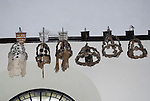 The Virgin Crowns Garlands and or Chaplets hanging in the church of St Mary the Virgin Abbots Ann, Andover, Hampshre UK