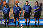 18 November 2016: Match officials. From left: Assistant Referee Michael Hill, Referee Elvis Mahmutovic, Fourth Official Patrick Schmidt, Assistant Referee Carmen Serbio. The Clemson University Tigers played the University of Arkansas Razorbacks at Fetzer Field in Chapel Hill, North Carolina in a 2016 NCAA Division I Women's Soccer Tournament Second Round match. Clemson advanced by winning the Penalty Kick Shootout 4-2 after the game ended in a 0-0 tie after overtime.