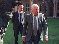 Roma 1990.Gianni Agnelli e Umberto Agnelli nel Complesso di vicolo Valdina.