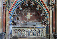 Mausoleum of Simon de Goncans, died 1325, bishop of Amiens who introduced the Fete-Dieu celebration and founded the Children's choir in 1324, 14th century, on the North side of the Chapelle de Notre Dame or Chapel of Our Lady, in the Basilique Cathedrale Notre-Dame d'Amiens or Cathedral Basilica of Our Lady of Amiens, built 1220-70 in Gothic style, Amiens, Picardy, France. Along the base are statues of mourners. Amiens Cathedral was listed as a UNESCO World Heritage Site in 1981. Picture by Manuel Cohen