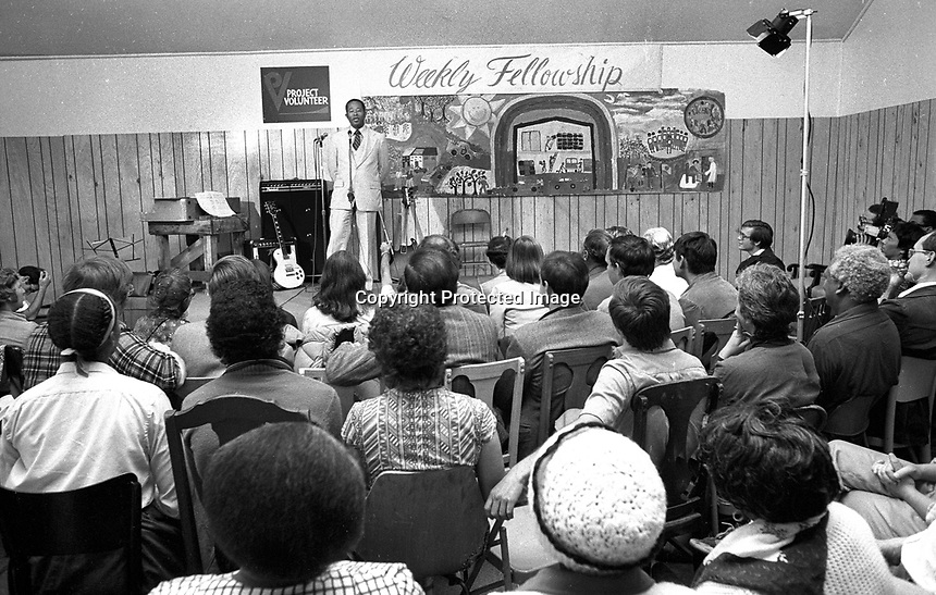Former Black Panther Eldridge Cleaver speaking at the Moonie Warehouse. Oct 18,1979. (photo by Ron Riesterer)