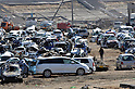 April 1, 2011, Yamadamachi, Japan - Salvaged motor vehicles are rounded up at a temporary boneyard in Yamadamachi, Iwate Prefecture, on April 1, 2011, three weeks after this otherwise sleepy northeastern Japanese fishing vilalge was devastated by a magnitude 9.0 earthquake and ensuing tsunami. (Natsuki Sakai/AFLO) [3615] -mis-