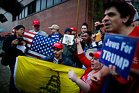 NEW YORK, NY - May 04: Supporters of U.S. president Donald Trump shout slogans pro Trump while Activists take part in a protest near the USS Intrepid where U.S. president Trump is hosting the visit of Australian Prime Minister Malcolm Turnbull late today after a delay on his schedule on May 4, 2017 in New York City. US President Donald Trump is returning to NYC after taking office in Washington as president,  Photo by VIEWpress/Eduardo MunozAlvarez