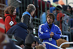04 December 2009: Los Angeles Sol head coach Abner Rogers (right) talks with United States Women's National Team head coach Pia Sundhage (SWE) (center) and assistant coach Hege Riise (NOR) (left). The Stanford University Cardinal defeated the University of California Los Angeles Bruins 2-1 in sudden victory overtime at the Aggie Soccer Complex in College Station, Texas in an NCAA Division I Women's College Cup Semifinal game.