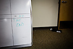 A white board calendar marks the last day on the special investigations floor of the Sacramento Police Department which was emptied due to budget cuts, and its detectives reassigned to patrol units, October 26, 2012 in Sacramento, Calif.