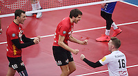 Volleyball 1. Bundesliga Saison 2016/2017  28.12.2016 TV Rottenburg - VfB Friedrichshafen JUBEL TV Rottenburg; Moritz Karlitzek, Felix Isaak und Johannes Elsaesser (v.li.)