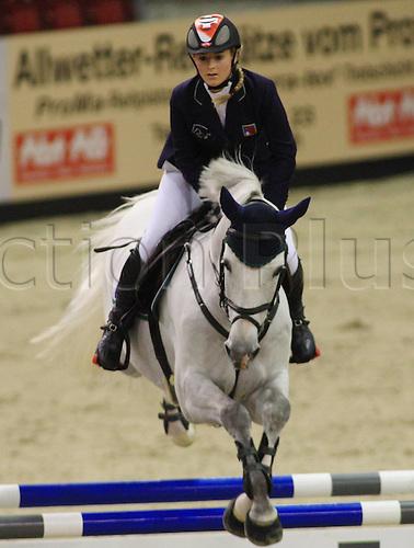 16 01 2010 CSI Basel at St Jakobshalle Martina Hingis Switzerland, Whiskies, AMI Equestrian sports riding, show jumping.