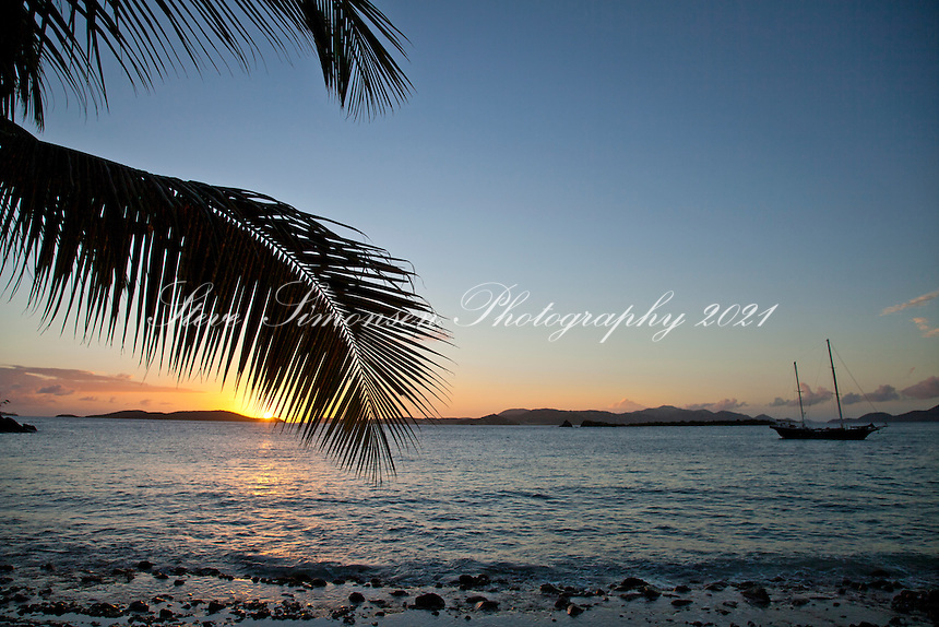 Setting sun at Frank Bay, St. John, USVI