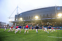 The Bath Rugby team warm up prior to the match. European Rugby Challenge Cup match, between Cardiff Blues and Bath Rugby on December 10, 2016 at the Cardiff Arms Park in Cardiff, Wales. Photo by: Patrick Khachfe / Onside Images