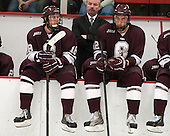 Tylor Spink (Colgate - 18), Don Vaughan (Colgate - Head Coach), Kyle Baun (Colgate - 12) - The Harvard University Crimson defeated the Colgate University Raiders 4-1 (EN) on Friday, February 15, 2013, at the Bright Hockey Center in Cambridge, Massachusetts.