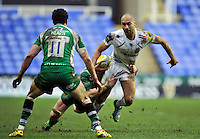 Olly Woodburn of Exeter Chiefs takes on the London Irish defence. Aviva Premiership match, between London Irish and Exeter Chiefs on February 21, 2016 at the Madejski Stadium in Reading, England. Photo by: Patrick Khachfe / JMP