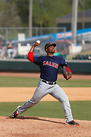 Salem Red Sox pitcher Yankory Pimentel (38) on the mound during a game against the Down East Wood Ducks  at Grainger Stadium on April 16, 2017 in Kinston, North Carolina. Salem defeated Down East 9-2. (Robert Gurganus/Four Seam Images)