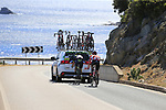 Winner Anacona (COL) Movistar Team and Tomasz Marczynski (POL) Lotto-Soudal get a tow as they pass the stunning coastline at Villasimius during Stage 3 of the 100th edition of the Giro d'Italia 2017, running 148km from Tortoli to Cagliari, Sardinia, Italy. 7th May 2017.<br /> Picture: Eoin Clarke | Cyclefile<br /> <br /> <br /> All photos usage must carry mandatory copyright credit (&copy; Cyclefile | Eoin Clarke)