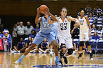 24 January 2016: Duke's Rebecca Greenwell (23) tries to steal the ball from North Carolina's N'Dea Bryant (22). The Duke University Blue Devils hosted the University of North Carolina Tar Heels at Cameron Indoor Stadium in Durham, North Carolina in a 2015-16 NCAA Division I Women's Basketball game. Duke won the game 71-55.