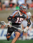 23 August 2008: Denver Outlaws' Midfielder Jeff Sonke (15) in action against the Los Angeles Riptide during the Semi-Finals of the Major League Lacrosse Championship Weekend at Harvard Stadium in Boston, MA. The Outlaws edged out the Riptide 13-12, advancing to the upcoming Championship Game.. .Mandatory Photo Credit: Ed Wolfstein Photo