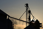 Many chutes and tubes leading between bins at the grain elevator in Big Rock, IL are silhouetted against a setting sun.