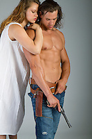 Western cowboy and woman themed Romance Novel cover stock photograph by Jenn LeBlanc for Illustrated Romance