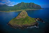 Aerial of Chinamans hat and Windward coastline, Oahu