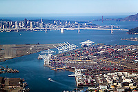 aerial photograph San Francisco skyline from Port of Oakland