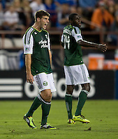 David Horst of Timbers argues with the referee about a bad call during the game against the Earthquakes at Buck Shaw Stadium in Santa Clara, California on August 6th, 2011.   San Jose Earthquakes and Portland Timbers tied 1-1.