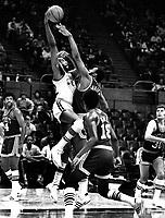Warriors vs. Detroit Pistons...Nate Thurmond up against Pistons Bob Lanier. (1972 photo/Ron Riesterer)