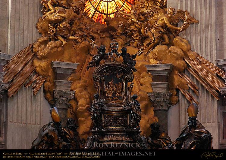 Cathedra Petri detail Chair of St Peter Gilded Bronze Cherubs holding Papal Keys and Tiara Relief Feed my Sheep St Ambrose St John Chrysostom St Athanasius St Augustine GianLorenzo Bernini 1666 Apse St Peter's Basilica Rome