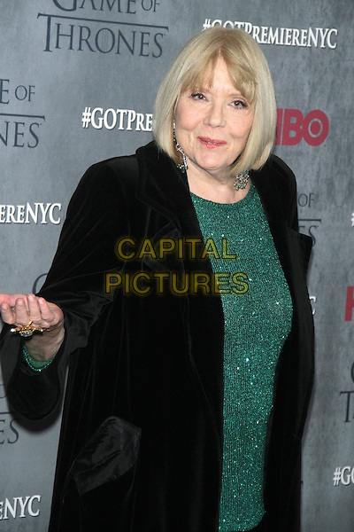NEW YORK, NY - MARCH 18: Diana Rigg at the 'Game Of Thrones' Season 4 New York premiere at Avery Fisher Hall, Lincoln Center on March 18, 2014 in New York City.  <br /> CAP/MPI/RW<br /> &copy;RW/MPI/Capital Pictures