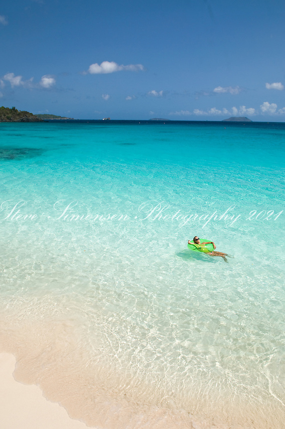 Katy Day relaxing in the clear water <br /> Trunk Bay<br /> Virgin Islands National Park<br /> St. John, U.S. Virgin Islands