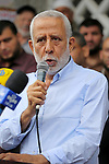 Islamic Jihad leader Mohammed al-Hindi delivers a speech during a protest against  U.S. President Donald Trump comments linking Hamas with terrorism and his visits to Palestinian territories in Gaza city on May 23, 2017. Photo by Ashraf Amra