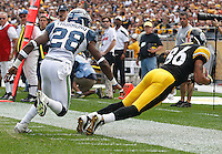 PITTSBURGH - SEPTEMBER 18:  Hines Ward #86 of the Pittsburgh Steelers makes a catch on the sideline in front of Walter Thurmond #28 of the Seattle Seahawks during the game on September 18, 2011 at Heinz Field in Pittsburgh, Pennsylvania.  (Photo by Jared Wickerham/Getty Images)