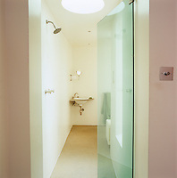 The walk-in shower is illuminated by a circular skylight