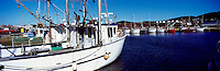 Ile du Havre-Aubert, Iles de la Madeleine, Quebec, Canada - Commercial Crab Fishing Boats docked in Port du Millerand - (Amherst Island, Magdalen Islands) - Panoramic View