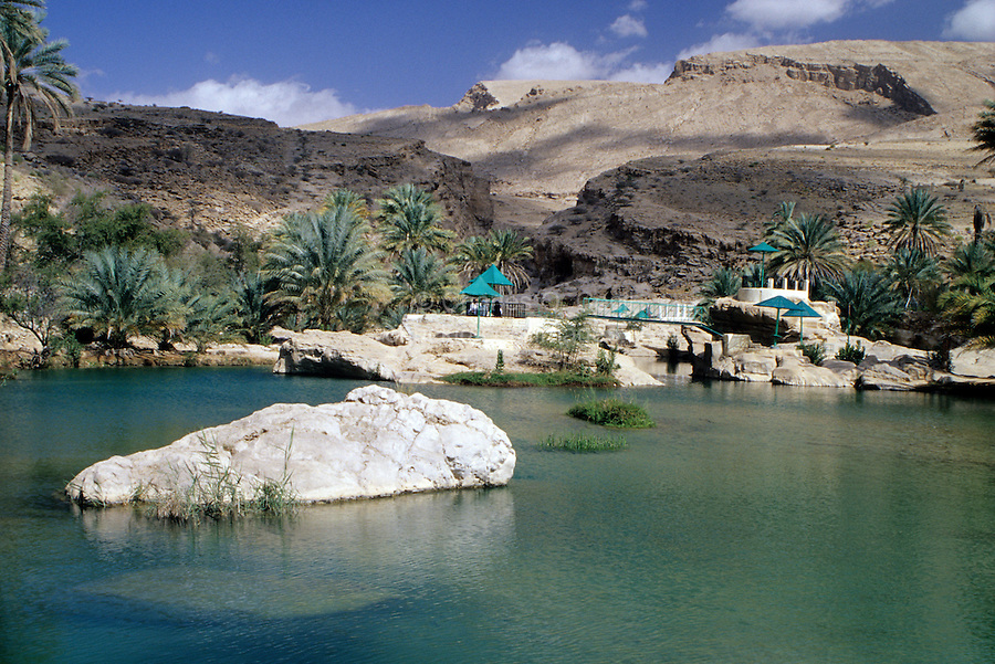 Wadi Bani Khalid, Oman, Arabian Peninsula, Middle East - Rest area for picnickers and hikers.
