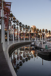 Palm trees line Rainbow Harbor, Long Beach, CA