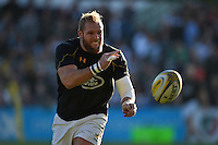 James Haskell of Wasps passes the ball during the pre-match warm-up. Aviva Premiership match, between Leicester Tigers and Wasps on November 1, 2015 at Welford Road in Leicester, England. Photo by: Patrick Khachfe / Onside Images